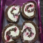 sliced swiss roll, ready to be frozen for later